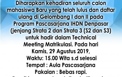 PENGUMUMAN TECHNICAL MEETING MATRIKULASI 2019